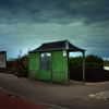 Green Bus Stop. Blackpool